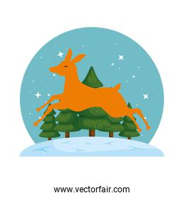 cute reindeer christmas silhouette with snowscape