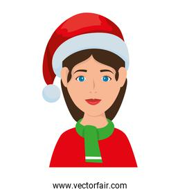 young woman with christmas hat and scarf