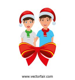 young couple with christmas decoration