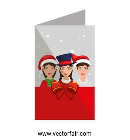 card with young people christmas decoration