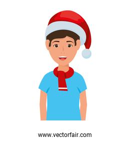 young man with christmas hat