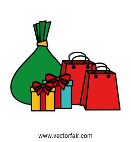 gifts boxes presents and shopping bags