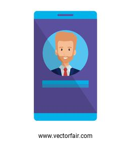 businessman in smartphone character