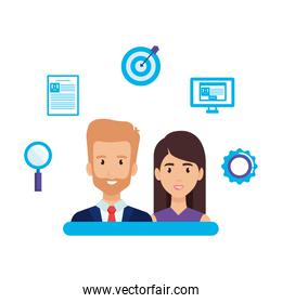 business couple with business set icons