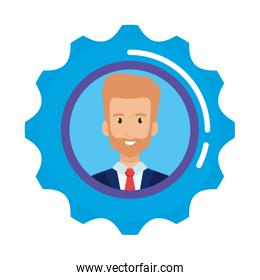 businessman in gear character
