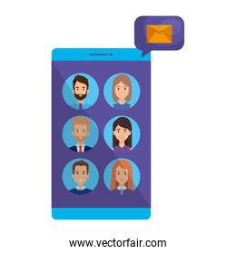 smartphone with business people users