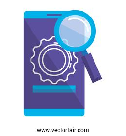 smartphone with gears and magnifying