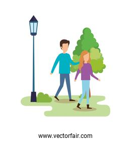 couple walking in the park characters
