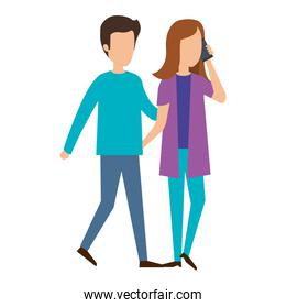 young couple with smartphone characters