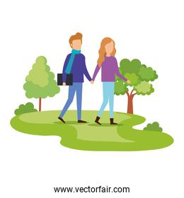 couple walking on the park