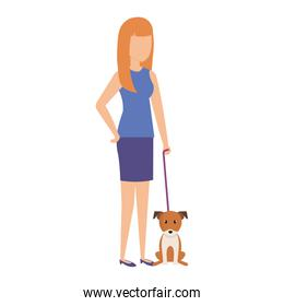 woman with dog character