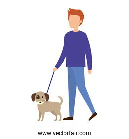 man with dog character