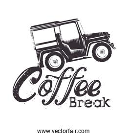 coffee break label with car