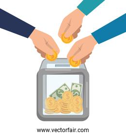 hand donating in box bills and coins