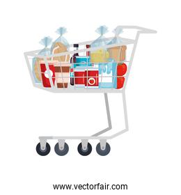 supermarket shopping cart with groceries