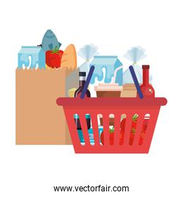 shopping bag and basket with groceries