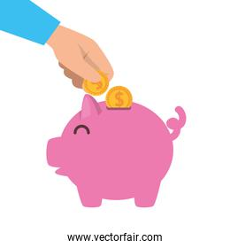 hands inserting coins with piggy savings