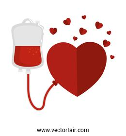 blood donation bag and hearts