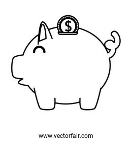piggy savings with coins