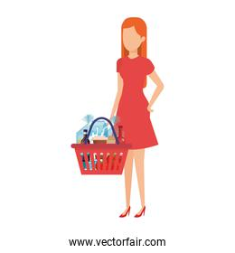 womna with shopping basket and products
