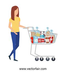 woman with shopping cart and groceries