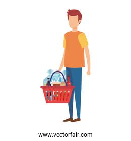 man with red shopping basket and products