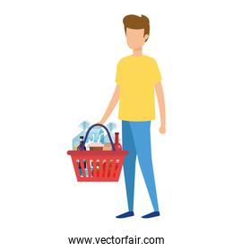 man with shopping basket and products