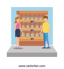 persons in supermarket shelving with bread bags