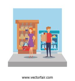 faceless persons in supermarket shelving with bread bags