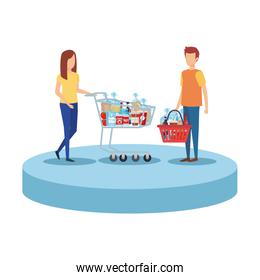 couple with shopping cart and basket