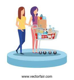 women with shopping cart and groceries