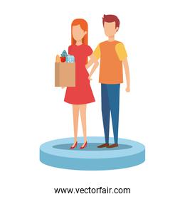 couple with supermarket shopping bag and groceries