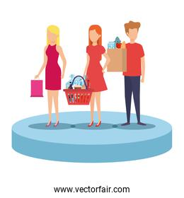 people with shopping bag and basket