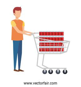 man with supermarket shopping cart and sodas