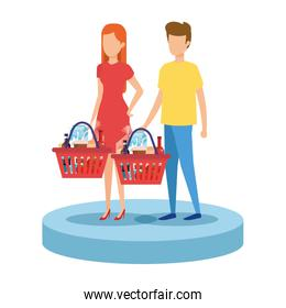 faceless couple with shopping basket and products