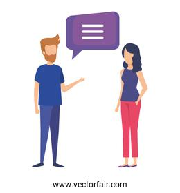 couple talking with speech bubble