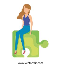 faceless  mini woman sitting in puzzle piece