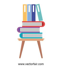 wooden chair with pile text books