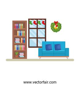livingroom with christmas decoration scene