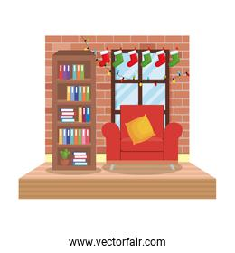 living room with christmas decoration scene