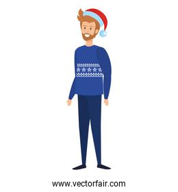 young man with christmas sweater and hat