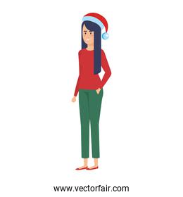 woman with christmas sweater and hat