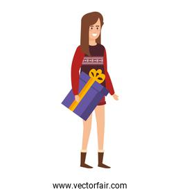 woman with christmas clothes and gift