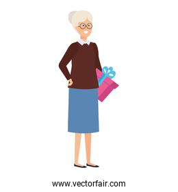 grandmother with december clothes and gifts