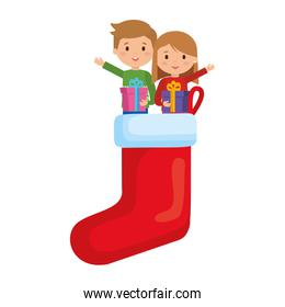 little kids in socks with winter clothes and gifts