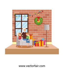 grandfather and kids in livingroom with christmas decoration over white