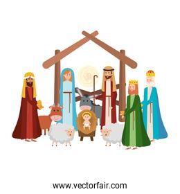holy family with wise kings and animals