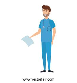 practitioner with stethoscope and medical order