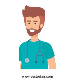 general practitioner with stethoscope character
