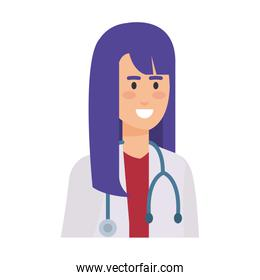 female doctor with stethoscope character